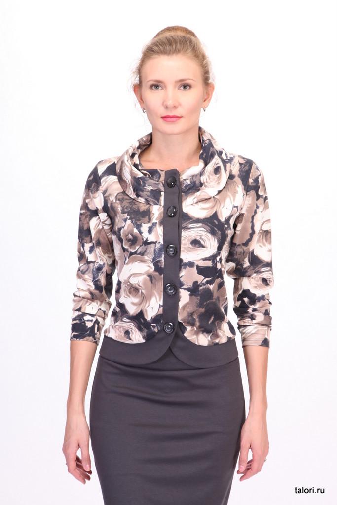 Жакет Кармен. Элегантный женский жакет-блуза из трикотажного джерси. Борта и полочки жакета выполнены из отделочного джерси темно-серого цвета. Жакет рекомендуется для повседневного ношения в комплекте с юбкой Шанель-2 (арт.13096) темно-серого цвета, выполненной из той же ткани, что и отделочные борта жакета.